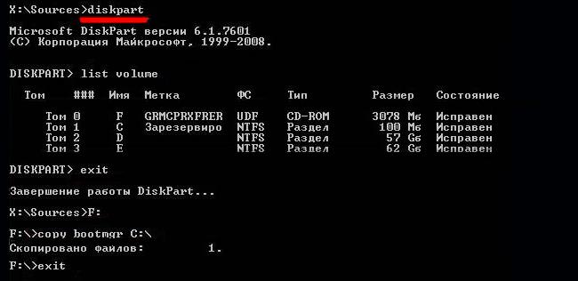 ошибка bootmgr is missing в windows 7