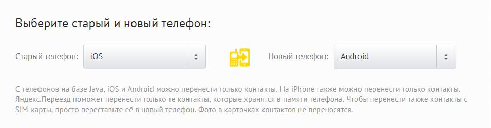 перенести контакты с iphone на android