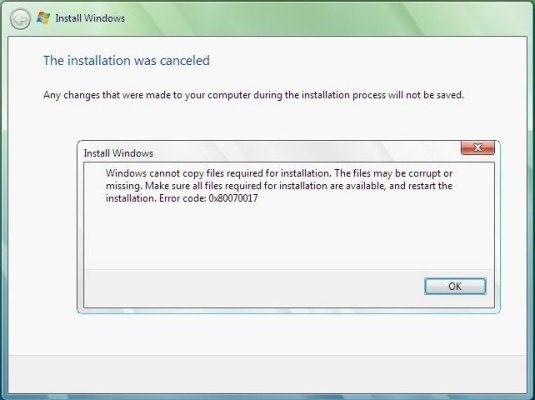Windows 7 показывает ошибку 0x80070017