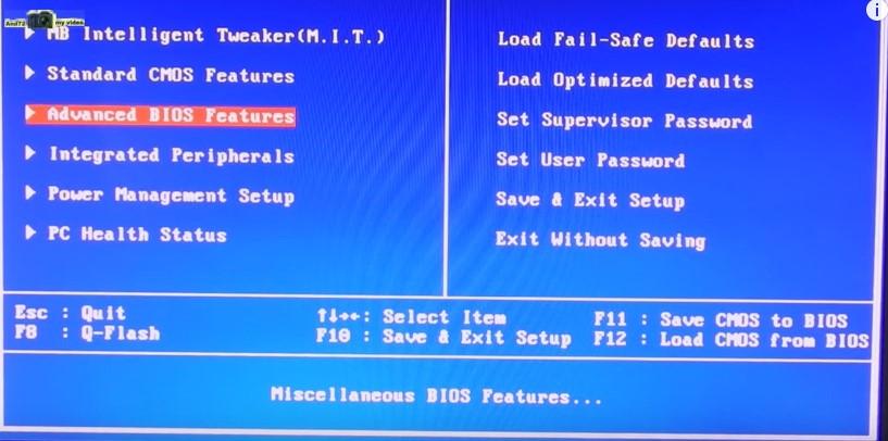Выбираем раздел «Advanced BIOS features»