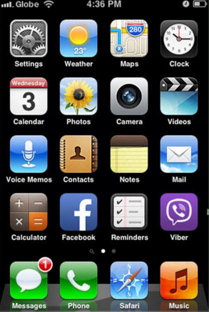 Стандартный рабочий стол iPhone