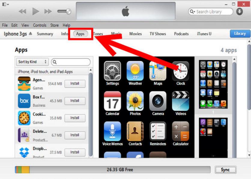 Копия рабочего стола iPhone в iTunes