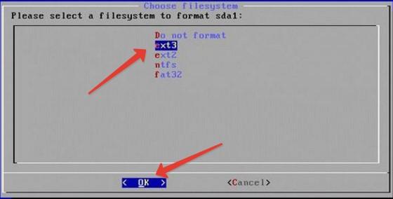 Окно выбора файловой системы раздела HDD