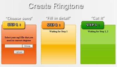 Этапы создания рингтона на сайте Tuneusin