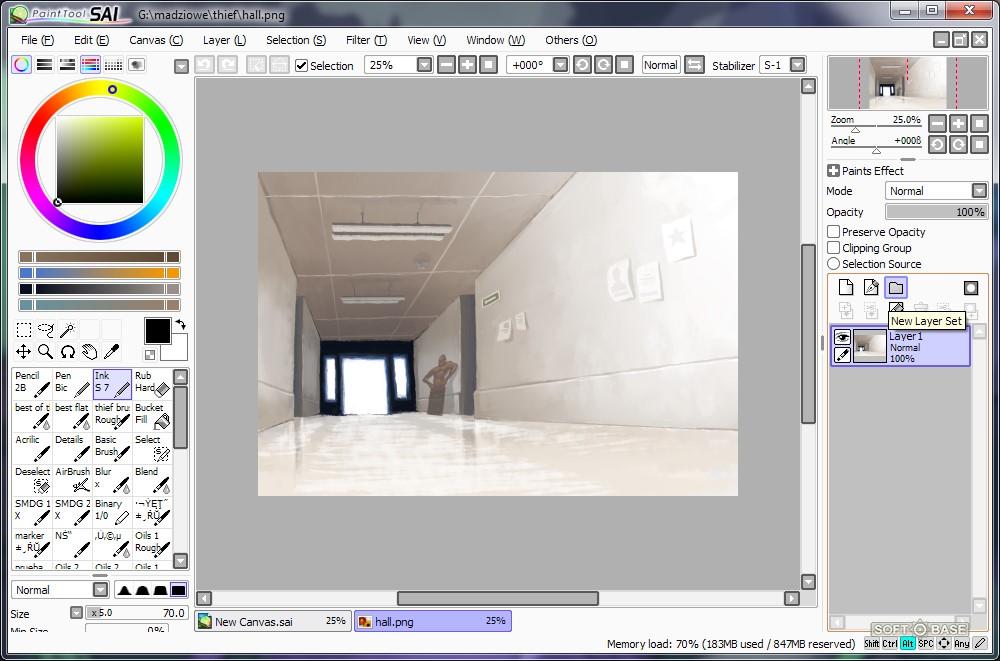 Процесс рисования в программе PaintTool SAI