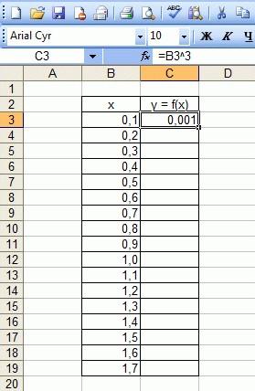 Заполнение первого столбца таблицы