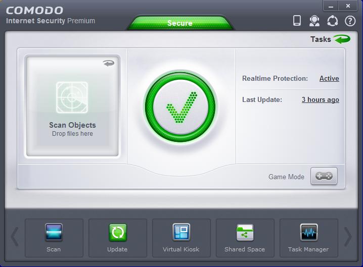 Основное окно программы Comodo