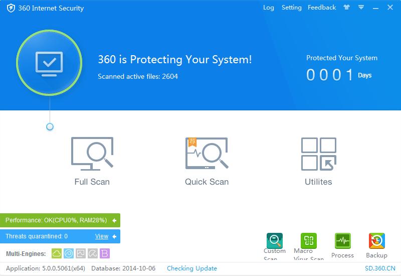 Внешний вид антивируса 360 Internet Security
