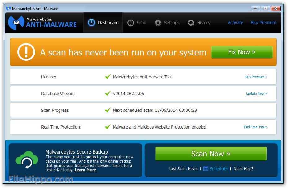 Сканирование системы на наличие внешних и внутренних угроз в программе Malwarebytes