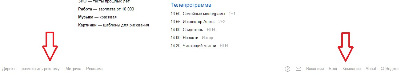 Низ главной страницы Яндекса