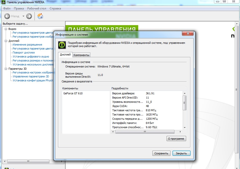 Информация о DirectX, выдаваемая панелью управления графической картой NVidia