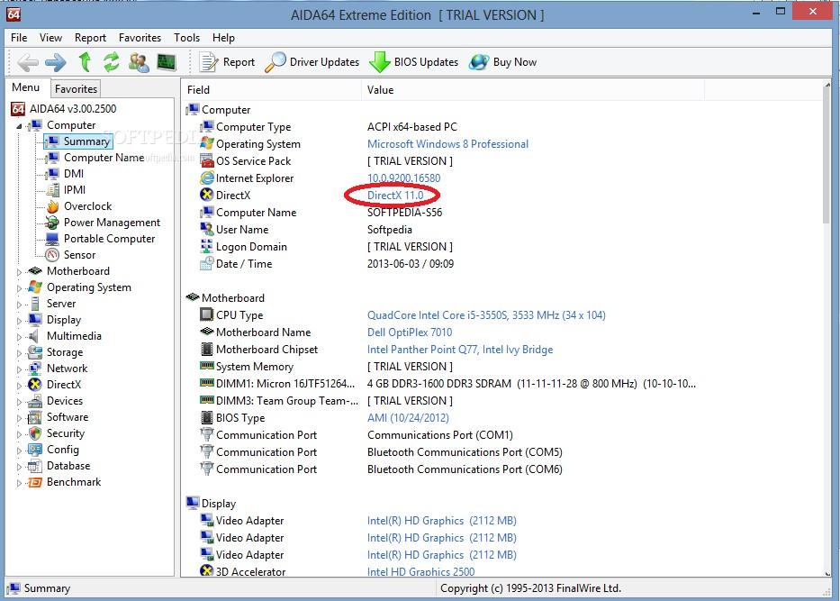 Версия мультимедийного пакета, показываемая программой AIDA 64