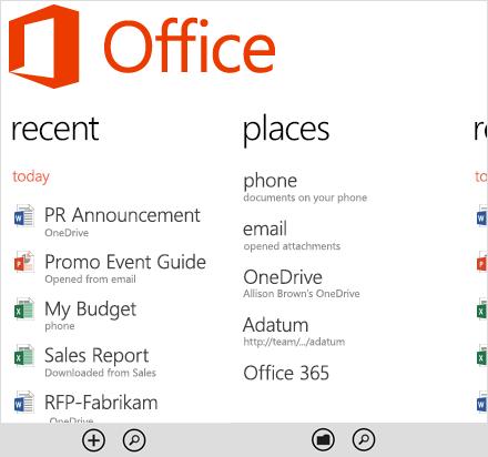 Главное окно программы MS Office для мобильных устройств под управлением Windows phone 10