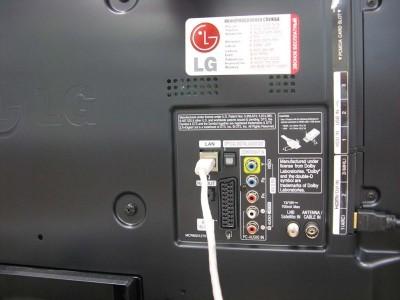 Размещение выхода LAN для подключения кабеля интернета на задней панели телевизора