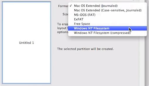 Выбор Windows NT Filesystem