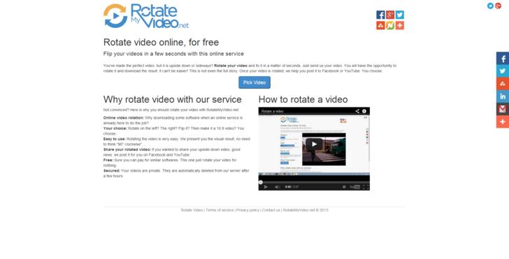 Домашняя страница сервиса RotateMyVideo