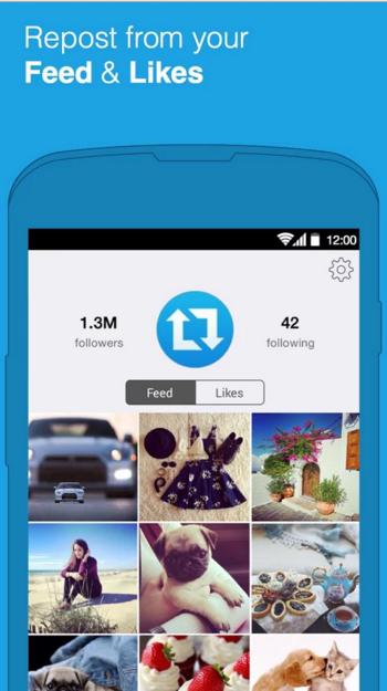 Внешний вид программы Repost For Instagram