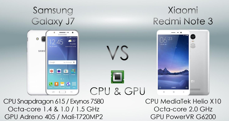 Мобильные телефоны Xiaomi Redmi Note 3 и Samsung Galaxy J7