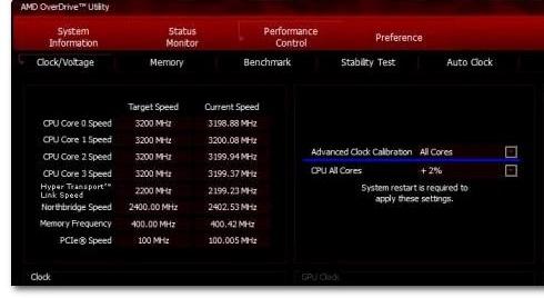 Главное окно приложения для разгона процессора ACC