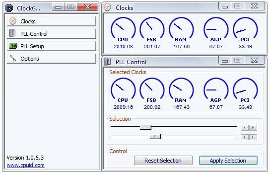 Главное окно приложения Clock Gen