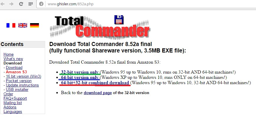 Страница скачивания Total Commender на сайте ghisler.com