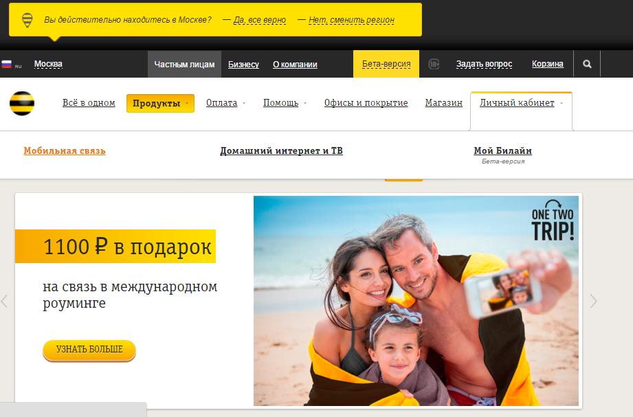 Официальный сайт компании Билайн