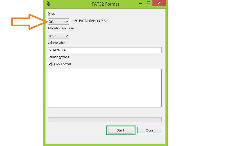 Окно программы FAT32FORMAT