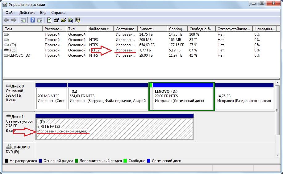 Обозначения исправленного носителя в программе «Управление дисками»