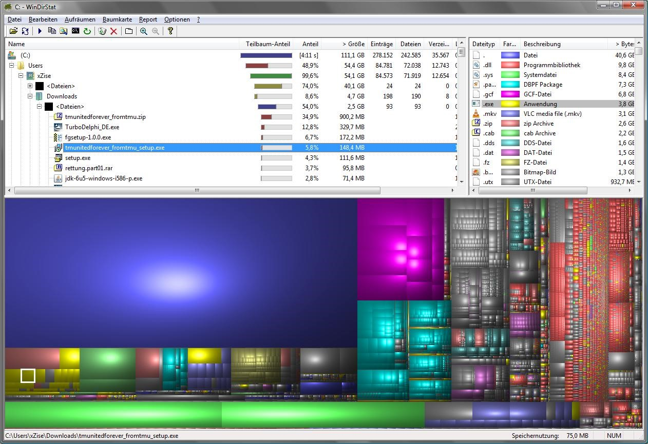 Подробный анализ данных на диске С