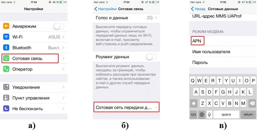 №5. Пункты меню для настройки сотовой связи в iOS