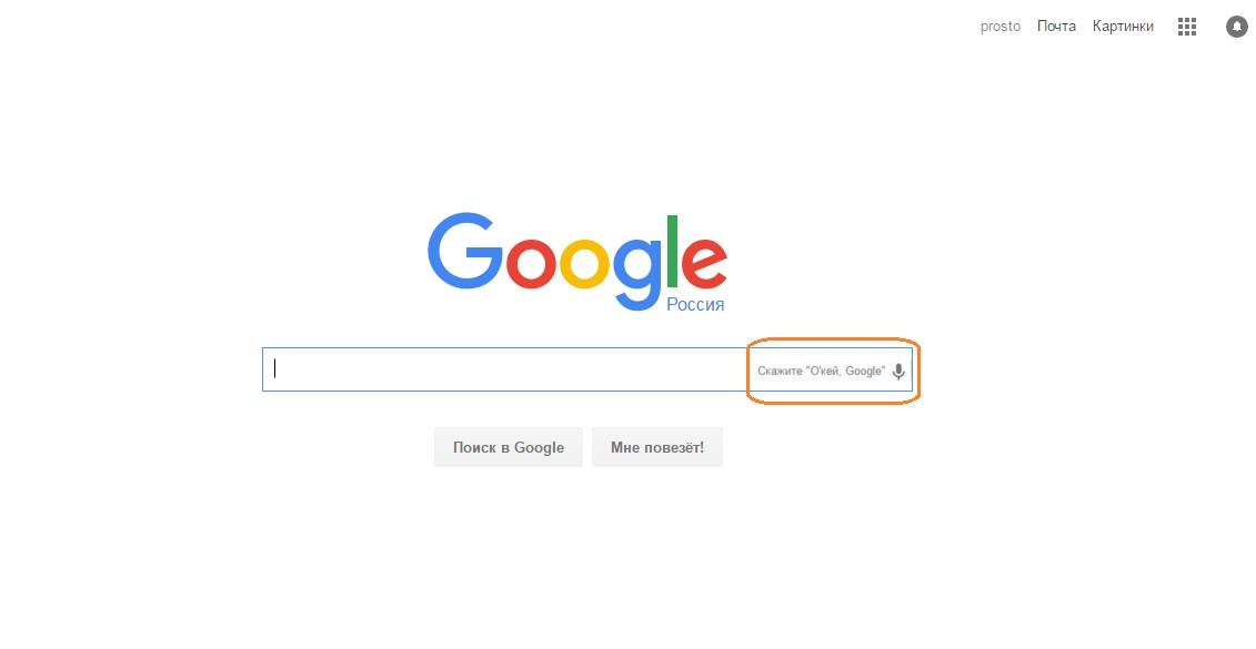 Пункт Окей Гугл на странице поисковика Google