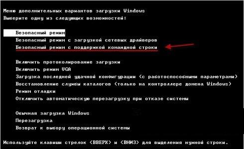 Внешний вид окна выбора дополнительной возможности загрузки ОС Виндоус