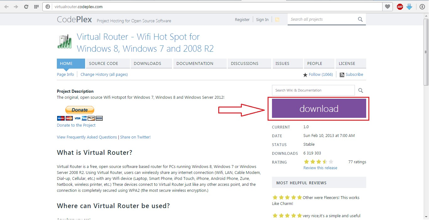 №11. Скриншот сайта загрузки программы Virtual Router