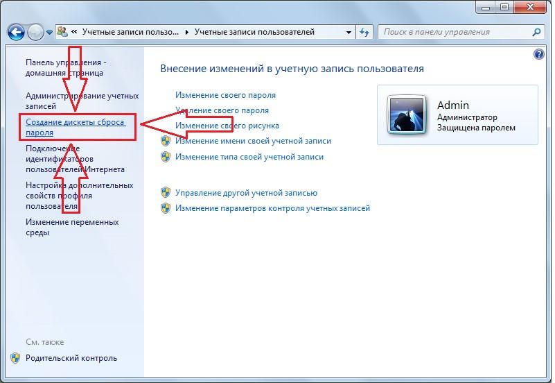 №16. Пункт «Создание дискеты сброса пароля»