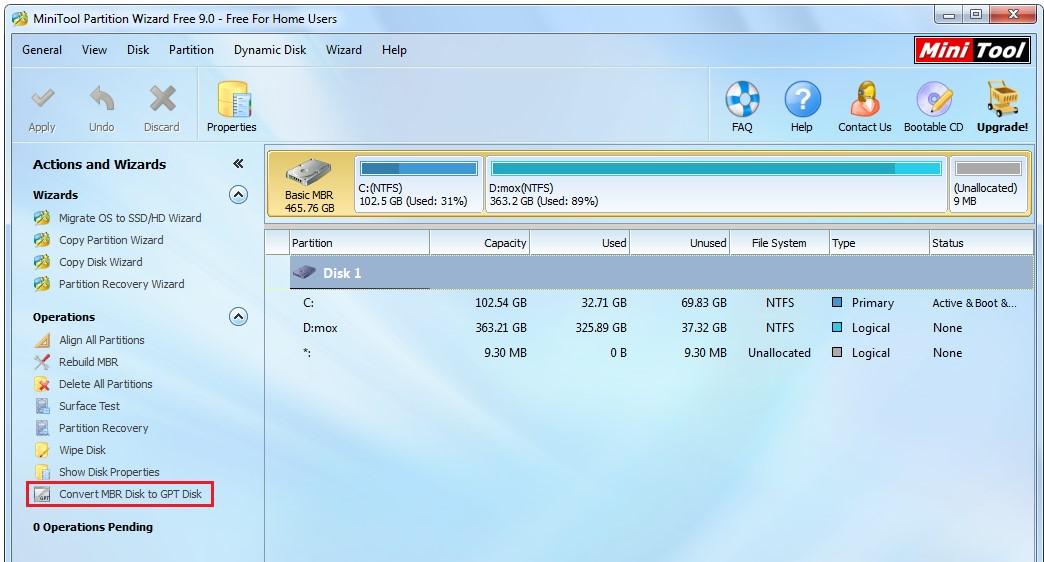№12. Расположение команды преобразования GPT и MBR дисков в программе Minitool Partition Wizard