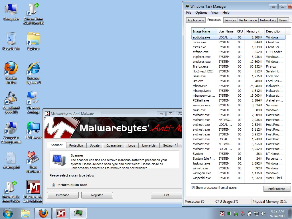 № 6. Рабочий стол одной из сборок Windows 7 Live