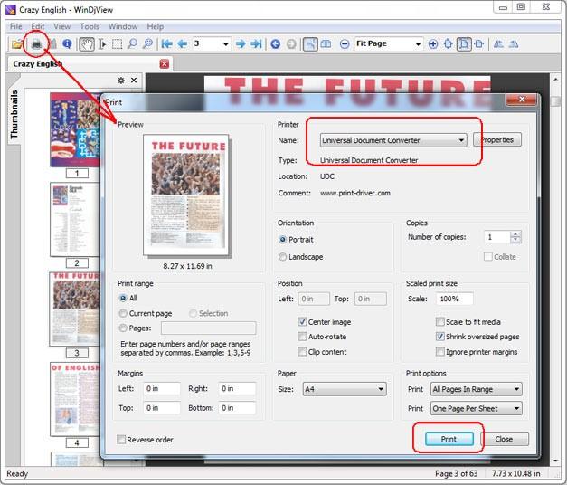 Преобразование документов в программе WinDjView