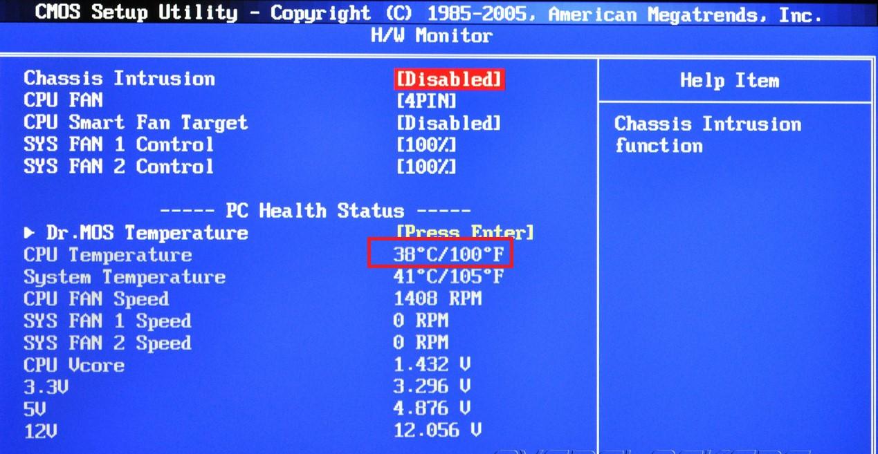 Проверка температуры в BIOS