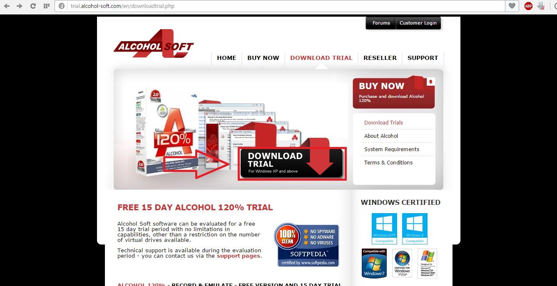 №12. Страница загрузки пробной версии Alcohol