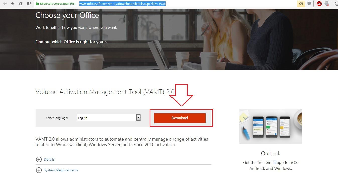 №12. Страница скачивания программы Volume Activation Management Tool№12. Страница скачивания программы Volume Activation Management Tool