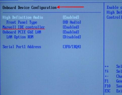 Настройка режима IDE в БИОС