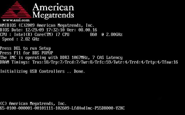 №1. Стартовый экран BIOS при нормальной загрузке