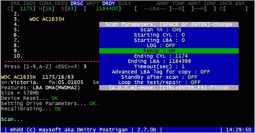 Восстановление работоспособности жёсткого диска с помощью программы MHDD.