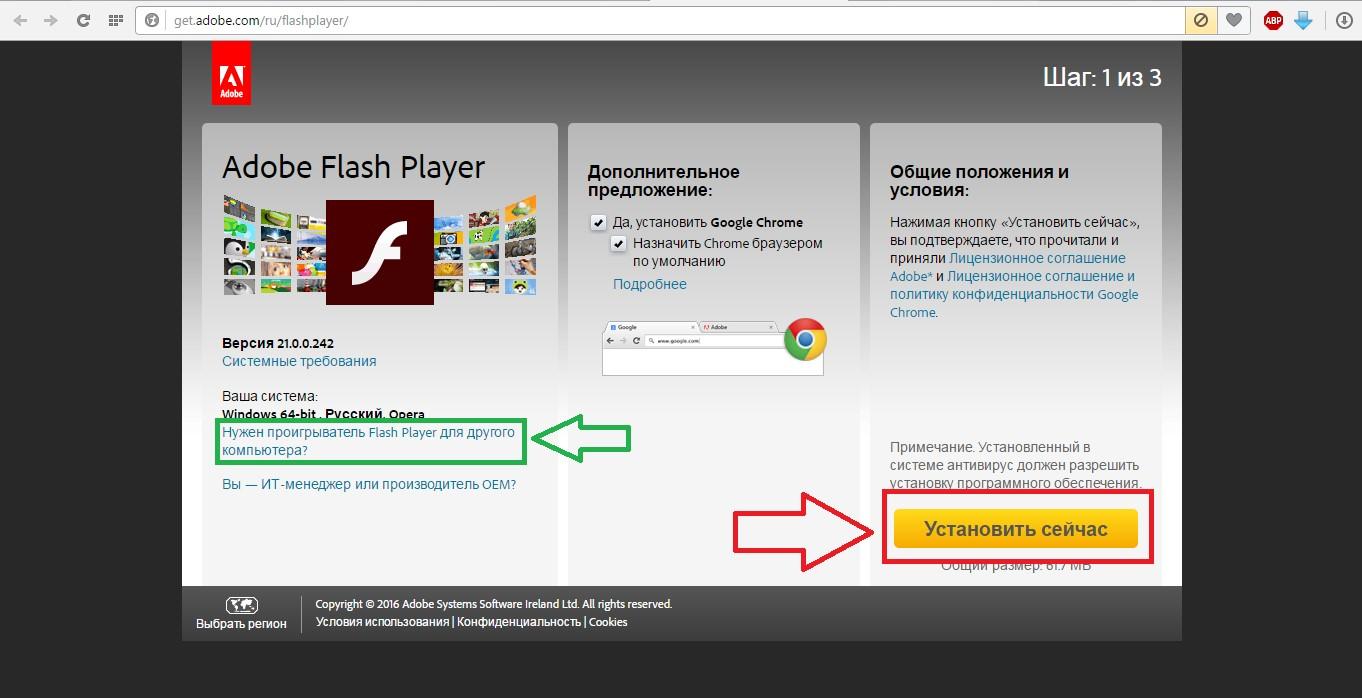 №3. Страница скачивания Adobe flash player