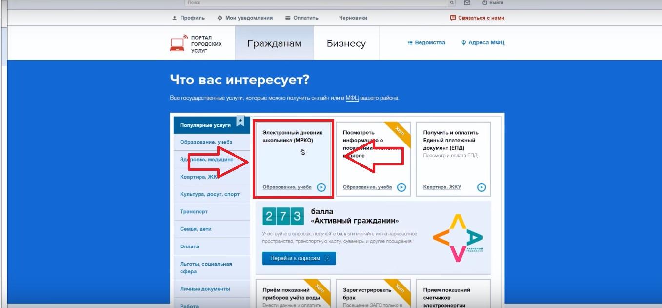 №6. Главная страница портала госуслуг для авторизированного в системе пользователя