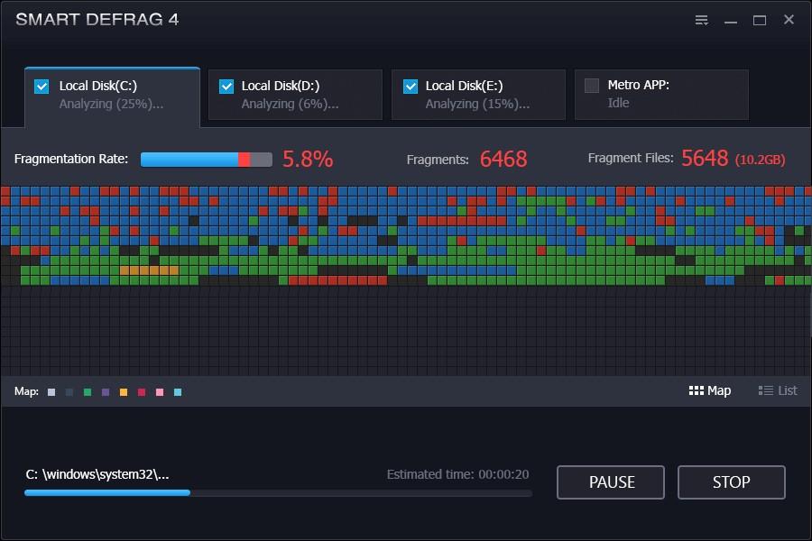 Простое в использовании приложение IObit SmartDefrag
