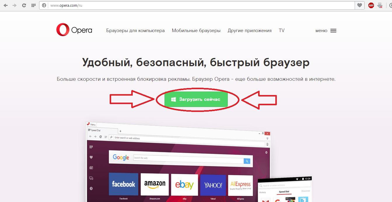 №1. Страница скачивания браузера Opera
