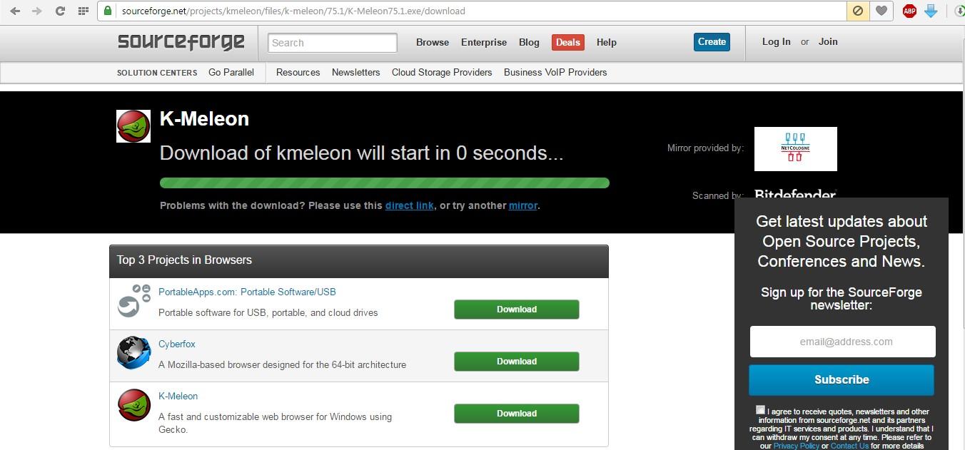 №13. Вспомогательная страница загрузки браузера K-Meleon