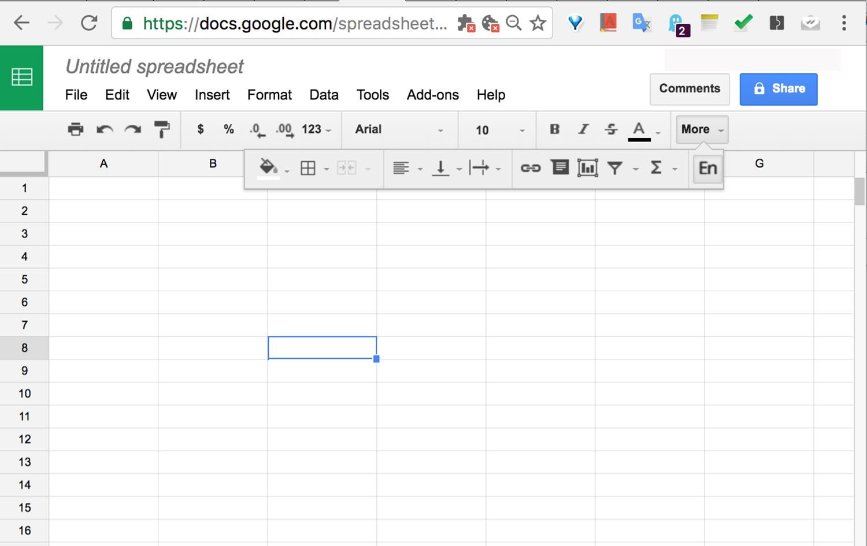 Рис. 8а Интерфейс онлайн-приложения Google Sheets