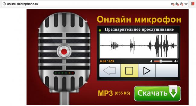 Рис. 7 Online Microphone – воспроизведение